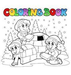 Coloring book winter scene 1 vector