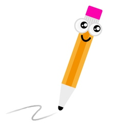Cute cartoon pencil vector image