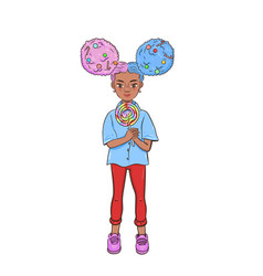 cute girl with a big candy isolated on a white vector image