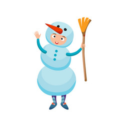 Cute kid wearing christmas snowman costume vector