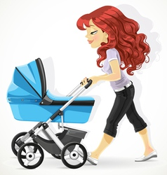 Cute mother with a blue pram on walk isolated on w vector image