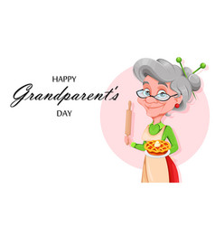 Cute smiling old woman happy grandparents day vector