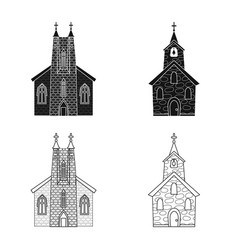 Design cult and temple icon set cult vector