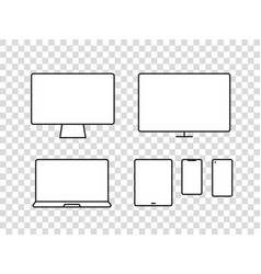 different modern media device pictograms vector image