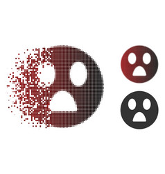 Dissolved pixel halftone wonder smiley icon vector