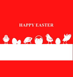 Easter banner with chickens and eggs vector