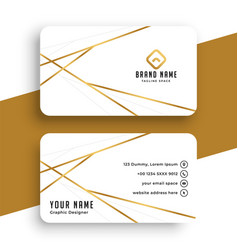 Elegant while and gold business card template vector