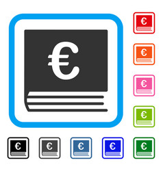 Euro bookkeeping framed icon vector