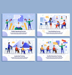 Flat banner set for business and self development vector