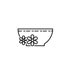 Flowers floating on liquid inside bowl outline vector