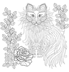 fluffy cat in roses entangle style freehand vector image