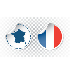 France sticker with flag and map label round tag vector