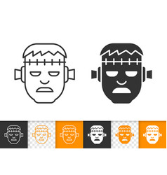 frankenstein head simple black line icon vector image