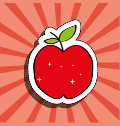 fresh apple delicious fruit drawing sticker image vector image