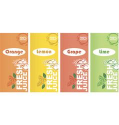 fresh juice labels vector image
