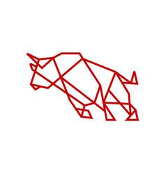 geometric bull tech charging line outline logo vector image