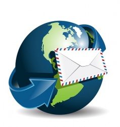 Globe and envelope vector