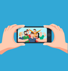 group selfie on smartphone photo portrait of vector image