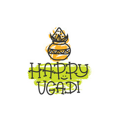 Happy ugadi the hindu new year print for holiday vector