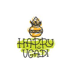 happy ugadi the hindu new year print for holiday vector image