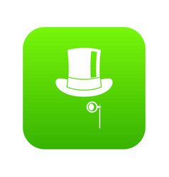 hat with monocle icon digital green vector image