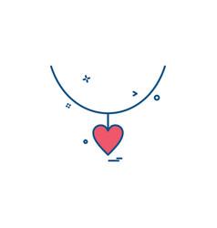 Heart love gift necklace icon design vector