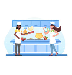 Home kitchen interior housekeepers prepare meal vector