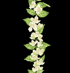 jasmine seamless decor element in vertical branch vector image