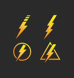 lightning bolt electricity power set vector image