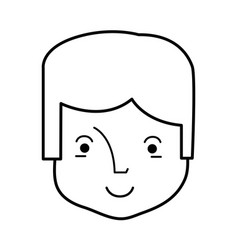 Line happy man head and nice face vector