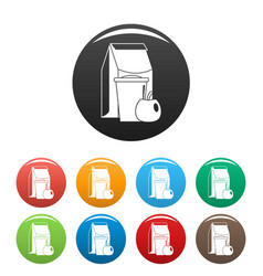 Lunch apple pack icons set color vector