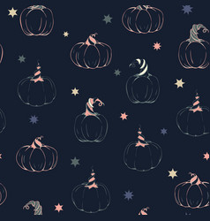 magical chalkpaint pumpkins with stars vector image