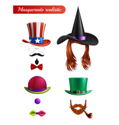 masquerade set on white background vector image