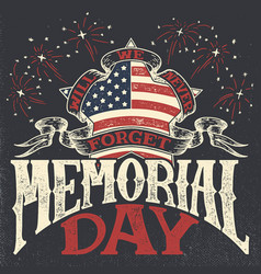 Memorial day vintage greeting card vector