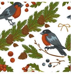 merry christmas bullfinch bird and mistletoe vector image
