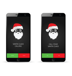 Mobile phone with santa claus calling vector