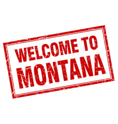 Montana red square grunge welcome isolated stamp vector
