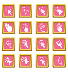 mouse pointer icons pink vector image vector image