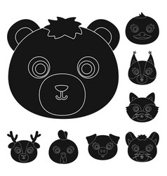 muzzles of animals black icons in set collection vector image