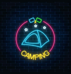 Neon camping sign with tent stars and flagsin vector