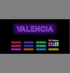 Neon name of valencia city vector