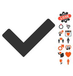 ok icon with valentine bonus vector image