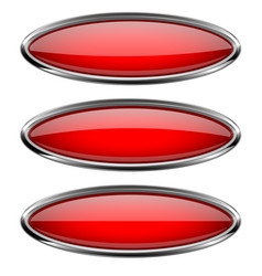 oval red buttons with bold chrome frame 3d shiny vector image