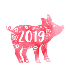pink watercolor silhouette of pig vector image