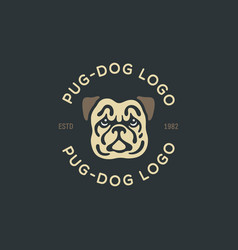 pug dog logo vector image