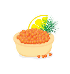 Red caviar in a tartlet appetizer for buffet vector