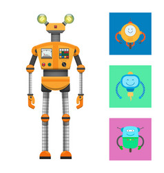 Robot collection and icons vector