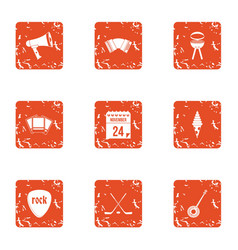 Rock fun icons set grunge style vector