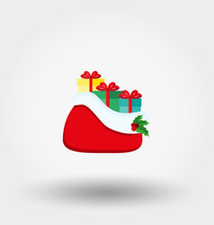 santa claus red bag with gifts icon flat vector image