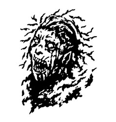 Scary head of zombie woman with disheveled hair vector